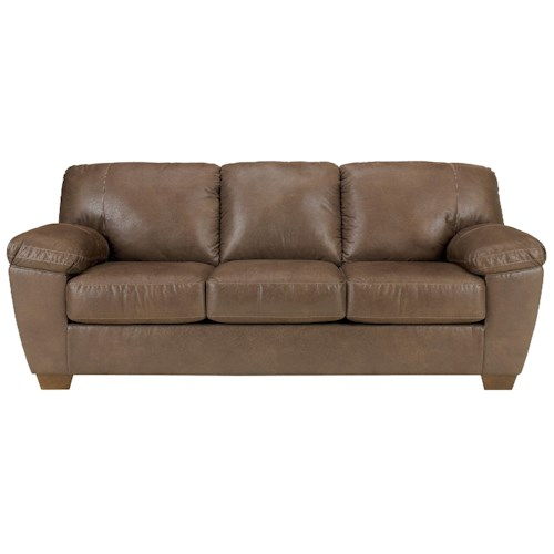 Signature design by ashley amazon walnut sofa with for Furniture 0 down