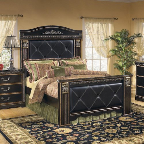 Signature Design By Ashley Coal Creek Upholstered Queen Mansion Bed Pilgrim