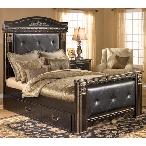 signature design by ashley coal creek queen upholstered mansion bed with underbed storage. Black Bedroom Furniture Sets. Home Design Ideas
