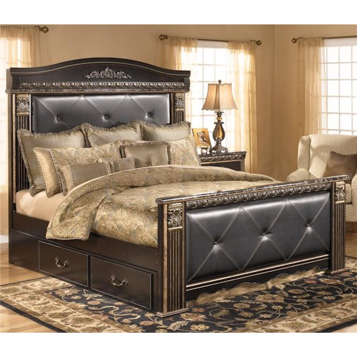 Signature design by ashley coal creek king upholstered for Upholstered king bed with storage