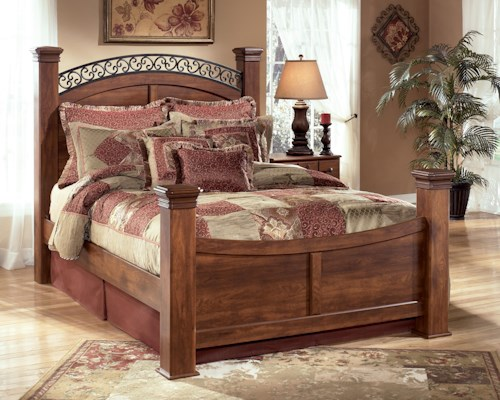 Signature design by ashley timberline queen poster bed furniture barn panel beds pennsville for Ashton castle bedroom set by ashley