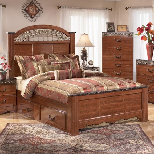 signature design by ashley brookfield queen poster bed with under bed storage and ornate. Black Bedroom Furniture Sets. Home Design Ideas