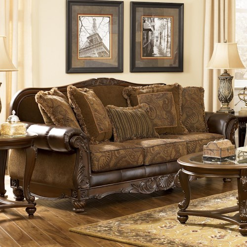 Signature Design By Ashley Fresco Durablend Antique Traditional Stationary Sofa With Rolled