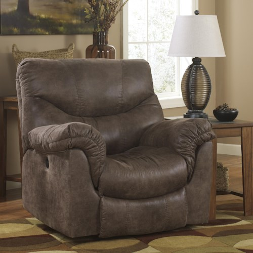 Ashley signature design alzena gunsmoke rocker recliner with casual style rooms and rest - Stylish rocker recliner ...
