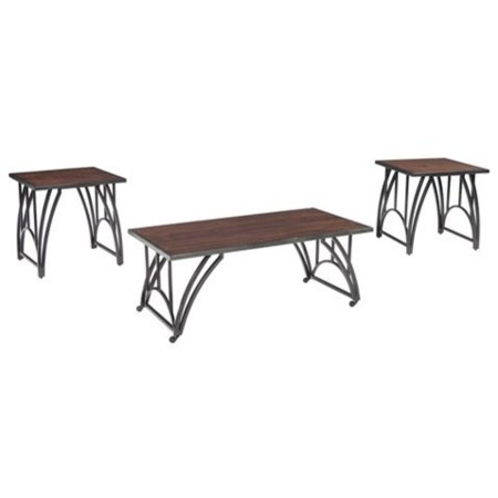 Wood/Metal 3-Piece Occasional Table Set