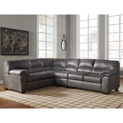 signature design by ashley bladen 3 piece faux leather sectional pilgrim furniture city. Black Bedroom Furniture Sets. Home Design Ideas