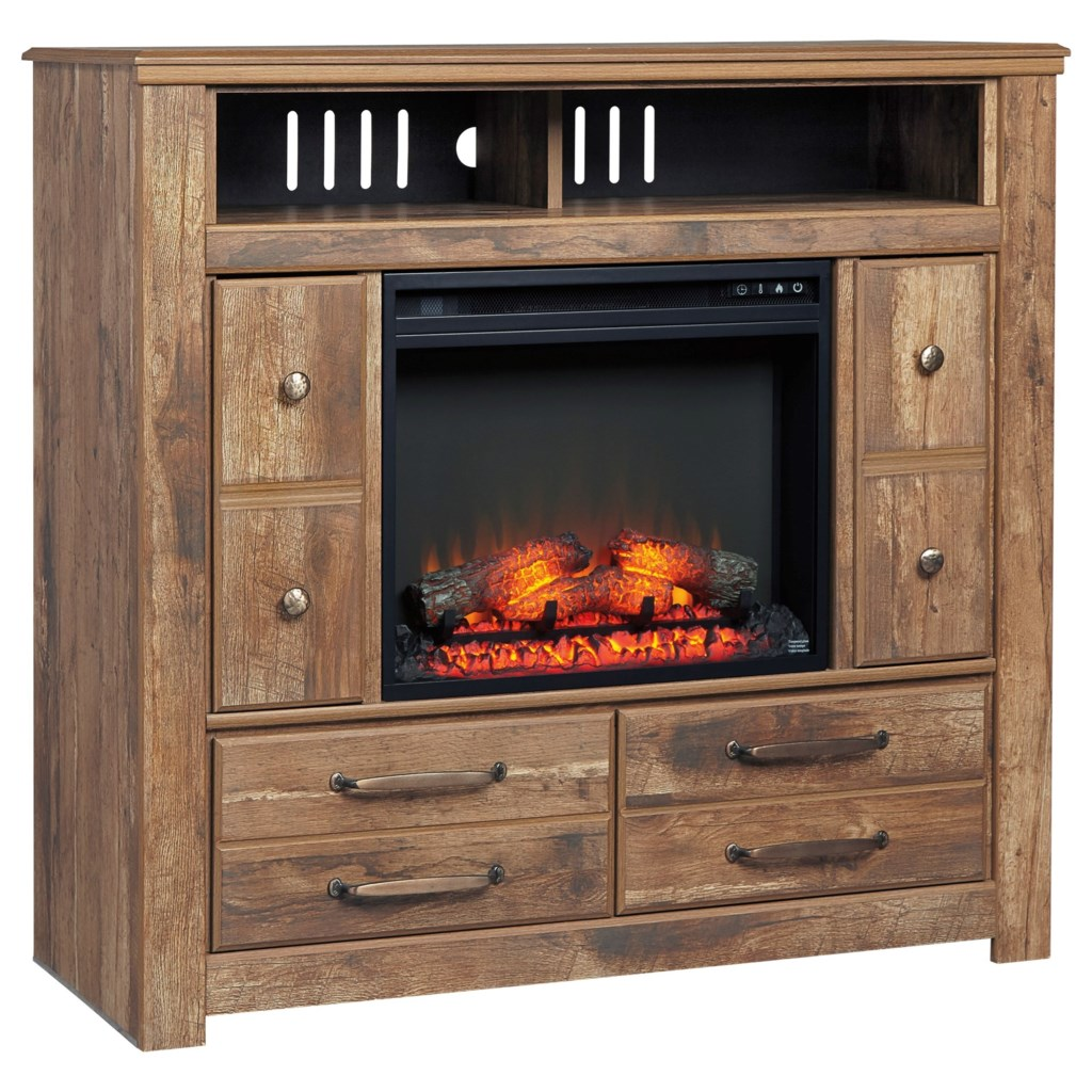 Shop for the Ashley Signature Design Blaneville Media Chest with Fireplace Insert at Dunk & Bright Furniture - Your Syracuse