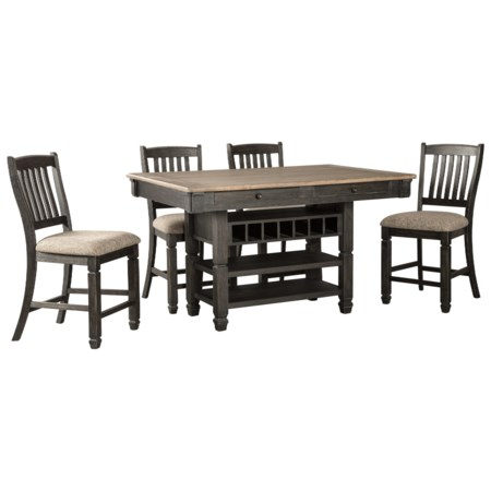 Relaxed Vintage 5-Piece Counter Table with Wine Storage and Stool Set