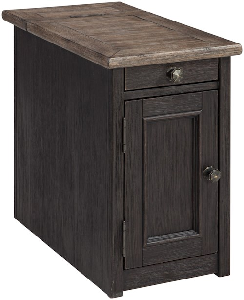 signature design by ashley tyler creek chair side end table with outlet and usb ports pilgrim. Black Bedroom Furniture Sets. Home Design Ideas