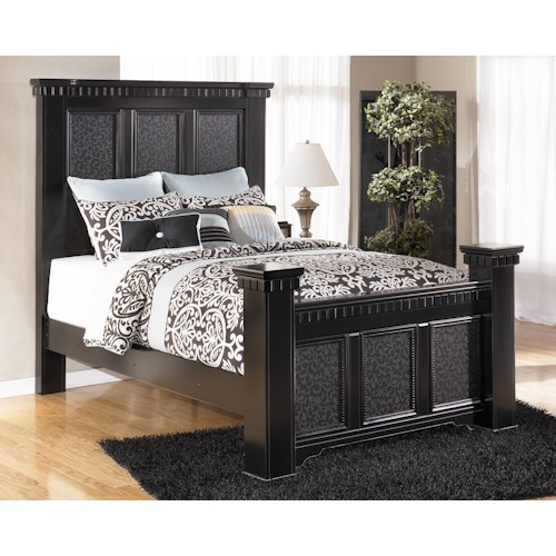 Signature Design By Ashley Cavallino Queen Mansion Poster Bed Standard Furn