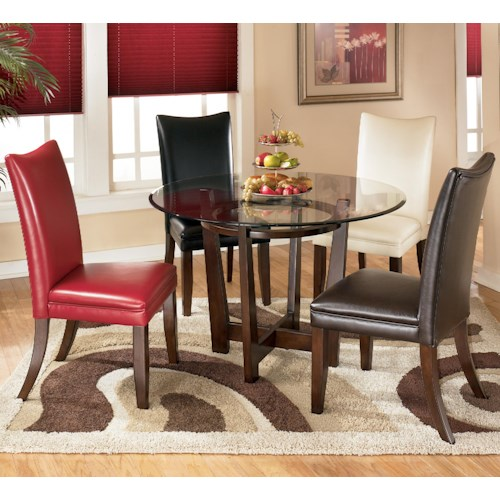 Signature design by ashley charrell 5 piece round dining for Different color chairs