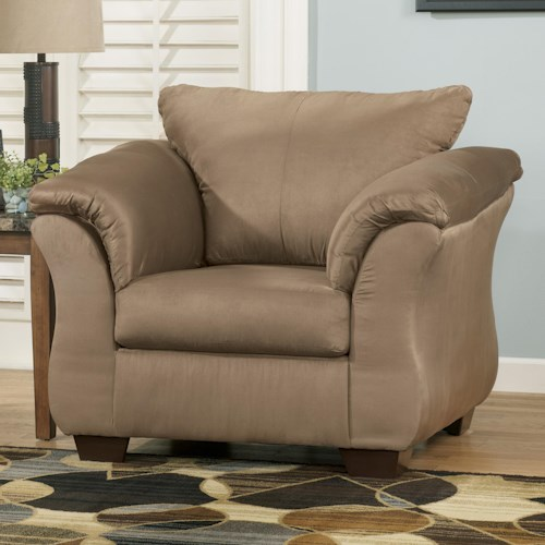 Signature design by ashley darcy mocha contemporary for Upholstered living room chairs with arms