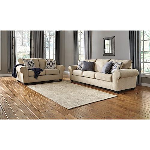 Signature design by ashley denitasse stationary living for Living room furniture groups