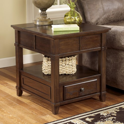 signature design by ashley gately end table with hidden storage electrical outlet l fish. Black Bedroom Furniture Sets. Home Design Ideas
