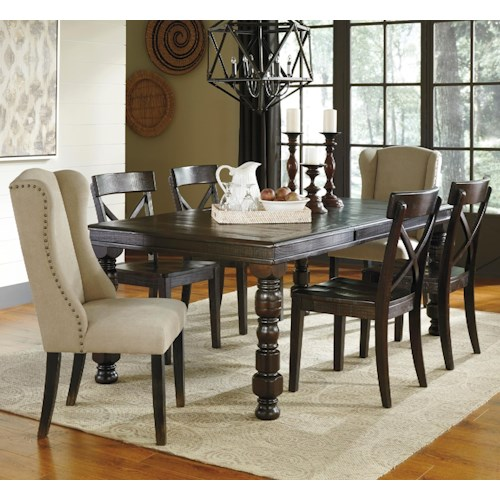 Signature design by ashley gerlane 7 piece solid pine for Dining room table 32 wide