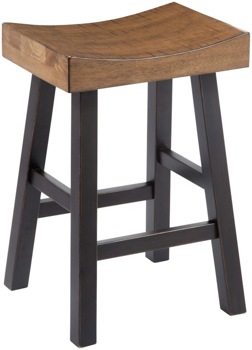 Signature Design By Ashley Glosco Rustic Two Tone Stool With Saddle Seat Wayside Furniture