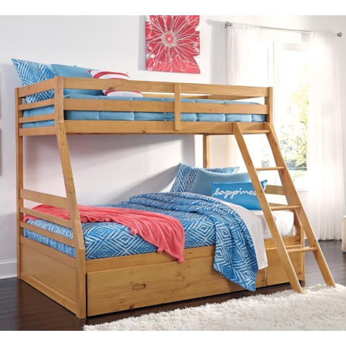 Signature Design By Ashley Hallytown Solid Pine Twin Full Bunk Bed W Under Bed Storage