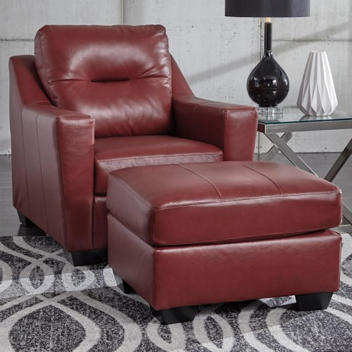 Signature Design By Ashley Kensbridge Leather Match Contemporary Chair Ottoman Wayside
