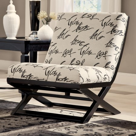 Armless Showood Accent Chair with Abstract Script Fabric