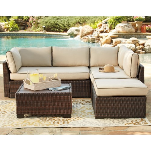 Signature Design By Ashley Loughran Outdoor Sectional Set With Cocktail Table Godby Home