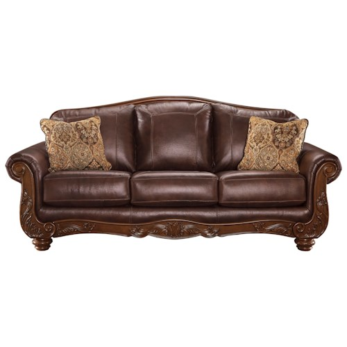 Signature Design By Ashley Augustus Traditional Leather Match Sofa Rotmans Sofas Worcester
