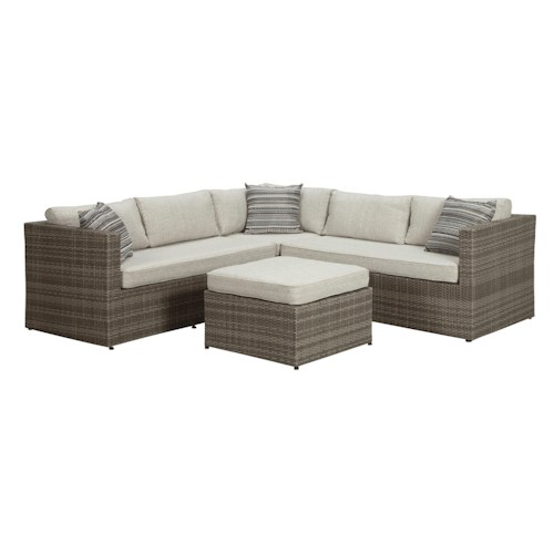 Signature design by ashley marco outdoor sectional set for Ashley sectional sofa with ottoman