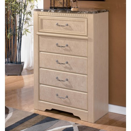 5-Drawer Chest with Faux Marble Top
