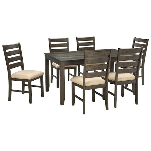 Signature design by ashley rokane contemporary 7 piece for Decor 7 piece lunch set