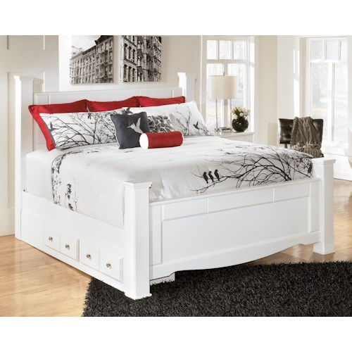 Signature Design By Ashley Weeki King Poster Bed With Underbed Storage Wayside Furniture