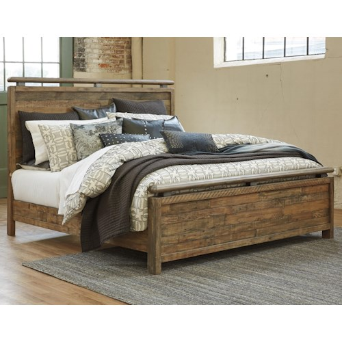 Signature Design By Ashley Sommerford Queen Panel Bed Made With Reclaimed Pine Solid Wood
