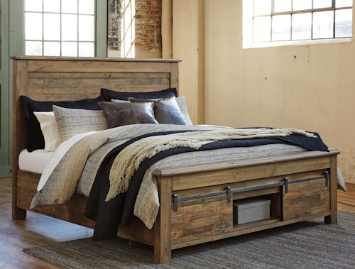 signature design by ashley sommerford california king panel storage bed with barn doors wilson. Black Bedroom Furniture Sets. Home Design Ideas
