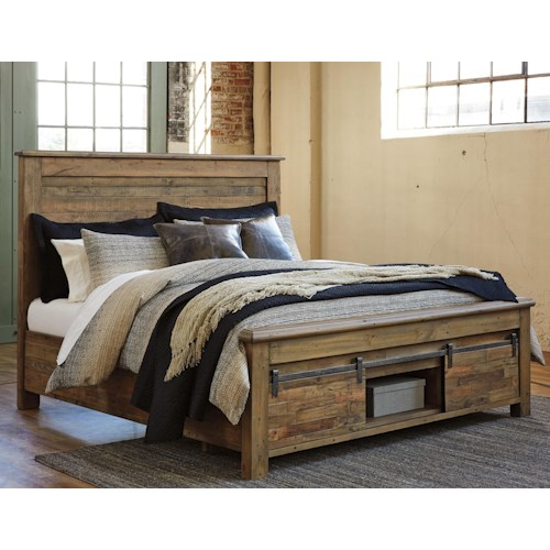 Signature Design By Ashley Sommerford King Panel Storage Bed With Barn Doors Wayside Furniture