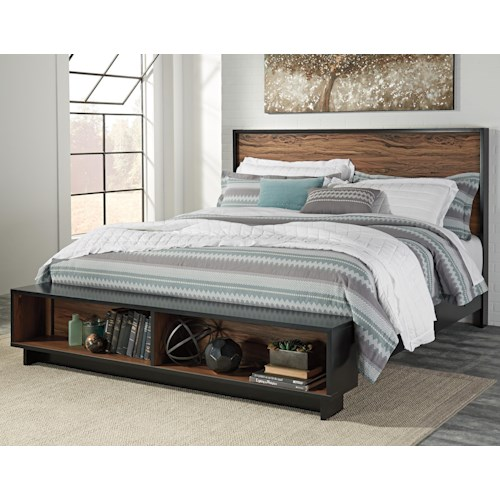 Signature Design By Ashley Stavani King Platform Bed W Storage Bench Footboard Value City