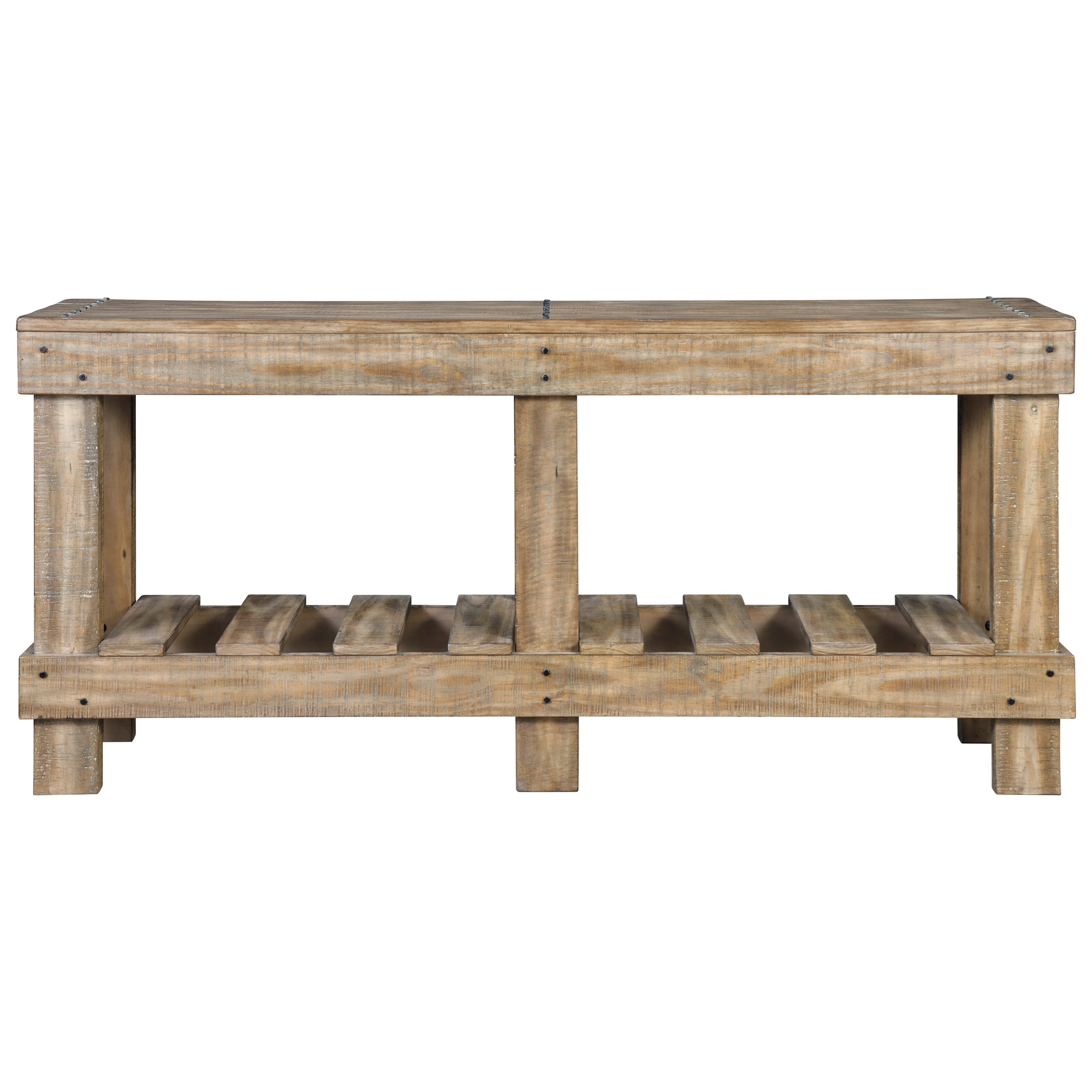 Signature Design By Ashley Susandeer Solid Wood Rustic Console Sofa Table With Slat Shelf Royal Furniture Sofa Tables Consoles