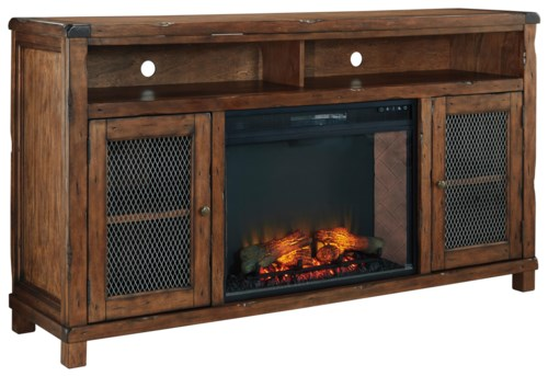 Shop for the Signature Design by Ashley Tamonie XL TV Stand with Electric Fireplace Insert at Wayside Furniture - Your Akron