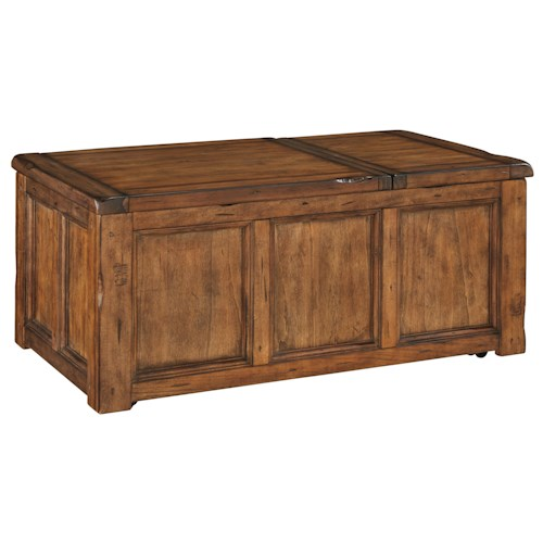 Signature Design By Ashley Tamonie Rustic Trunk Style Rectangular Lift Top Cocktail Table With