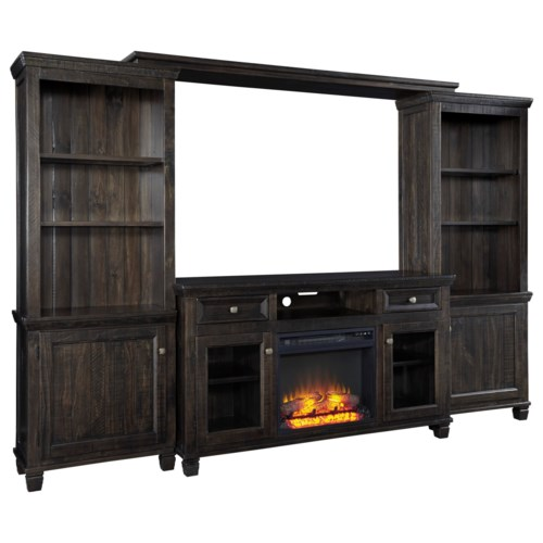 Shop for the Signature Design by Ashley Townser Entertainment Center w/ Fireplace at Wayside Furniture - Your Akron