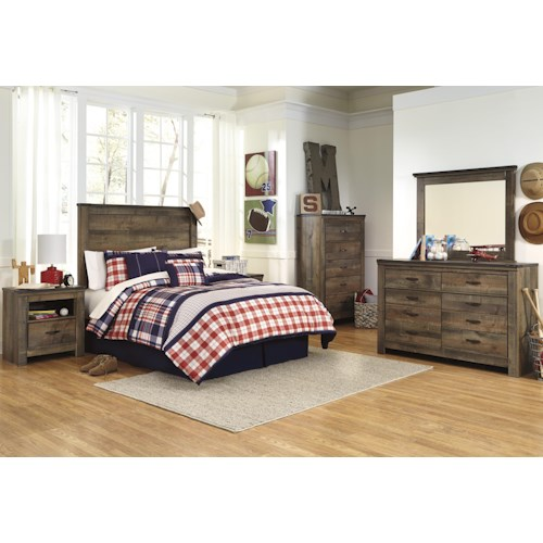 Signature design by ashley trinell full bedroom group for Bedroom groups