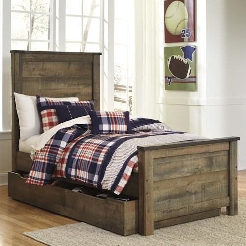 Signature Design By Ashley Trinell Rustic Look Twin Panel Bed With Under Bed Storage Trundle