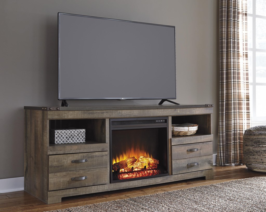 Shop for the Ashley Signature Design Trinell Large TV Stand with Fireplace Insert at Dunk & Bright Furniture - Your Syracuse