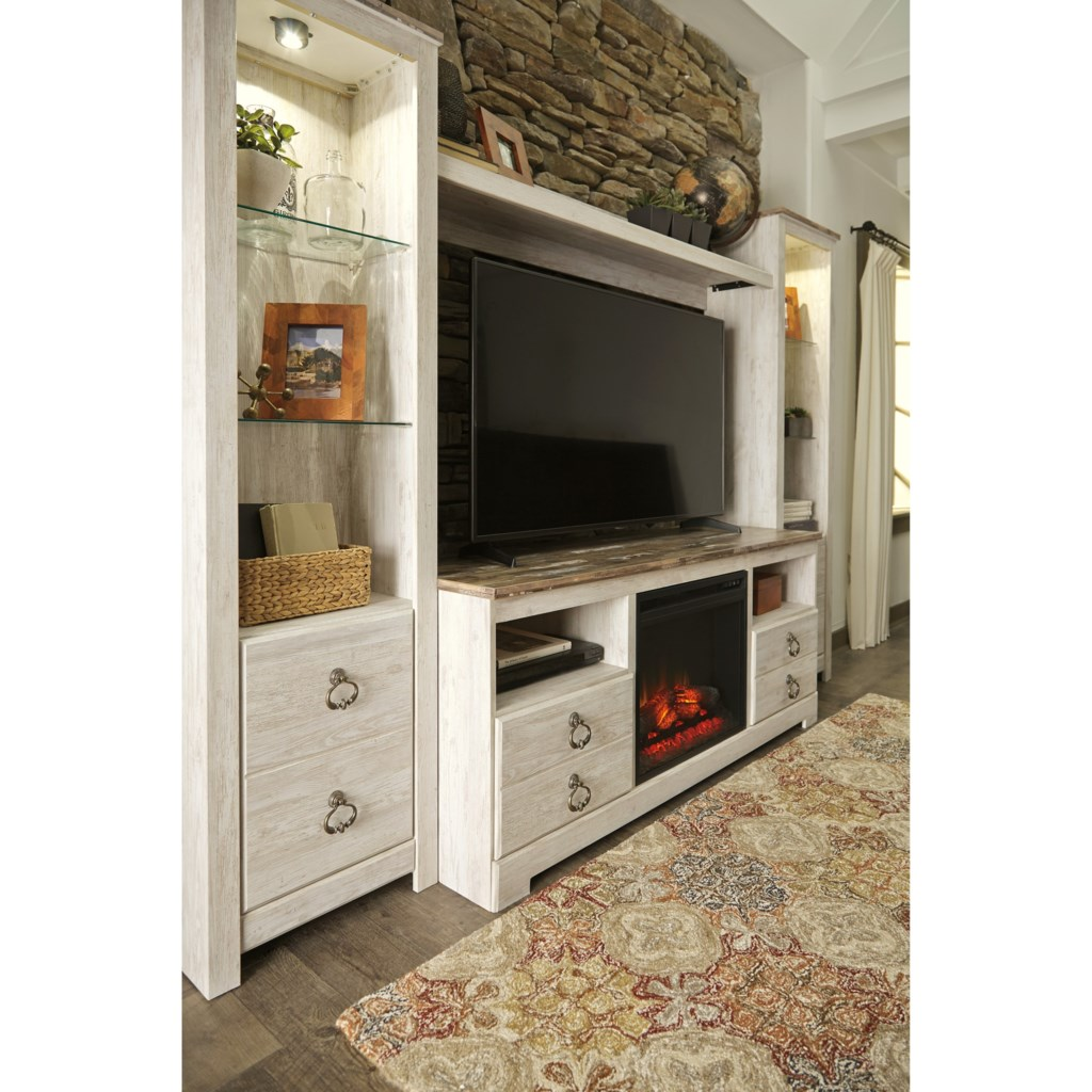 Shop for the Signature Design by Ashley Willowton Entertainment Center with Fireplace Insert at Furniture and ApplianceMart - Your Stevens Point