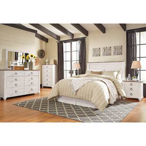 Signature design by ashley willowton queen full bedroom for Bedroom groups