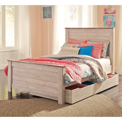 signature design by ashley willowton two tone full panel bed with under bed storage suburban. Black Bedroom Furniture Sets. Home Design Ideas