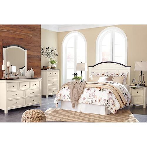 Signature design by ashley woodanville queen bedroom group standard furniture bedroom groups for Bedroom furniture huntsville al
