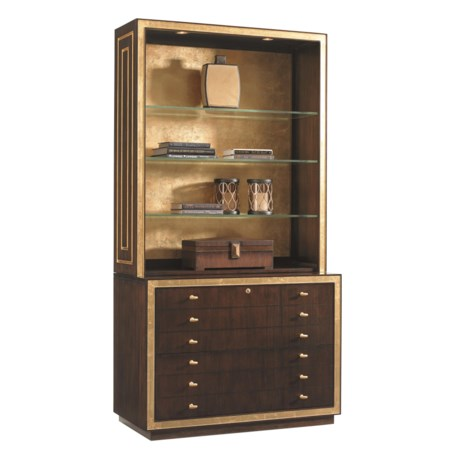 Beverly Palms Bookcase with File Cabinet, Display Lighting, and Gold-Tipped Back Panel