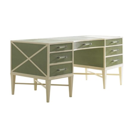 Sea Mist Writing Desk with Green Faux Shagreen