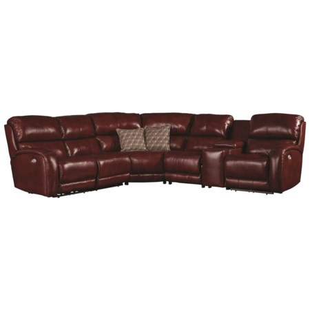 Casual Power Reclining Sofa with Console and Cup Holders