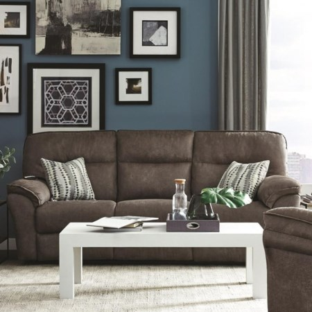 Casual Power Plus Double Reclining Sofa with Dropdown Table