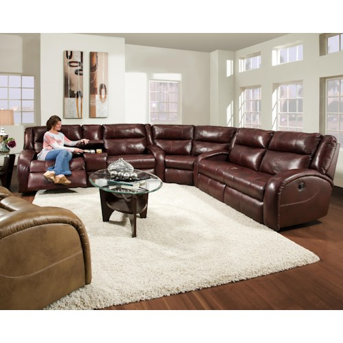 Southern motion maverick reclining sectional sofa with for Furniture 0 down