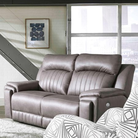 Contemporary Double Reclining Loveseat with Hidden Arm Cup Holders